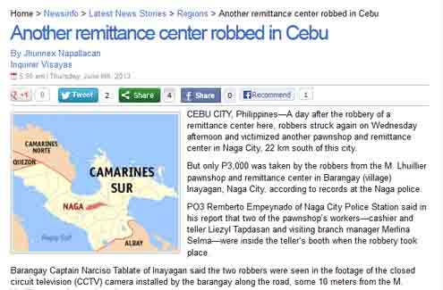 Inquirer Reports Robbery in Naga City of Cebu Province with Wrong Reference Map