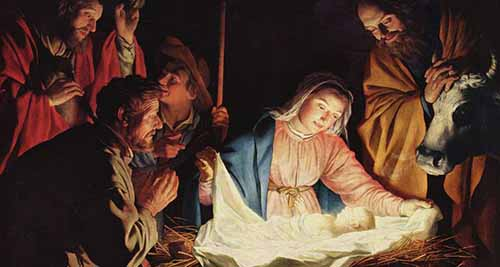 A photo reproduction of The Adoration of the Shepherds by Gerard van Honthorst, 1590-1656, as displayed in Wallraf-Richartz Museum in Cologne, Germany.